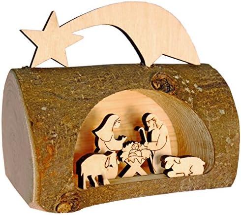 Kaltner Präsente – Presepe natalizio in legno con Gesù, Maria e Bambino in un tronco d'albero con corteccia del Sud Tirolo