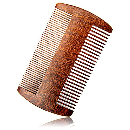 RIJAL Pocket Beard Comb Wood – 100% Real Sandalwood Comb – Natural Aromatic Scent  Anti-Static Dual-Sided Coarse  Fine Tooth Comb (4 Two sides)