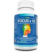 Nootropic Brain Supplement Smart Drug - Focus, Mental Energy, Concentration and Clarity - No Caffeine Jitters - FOCUSX10 All Natural Formula Made in USA - Ginkgo, Rhodiola, Lions Mane and More