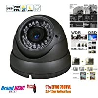 BW® 700TVL 1/3 Sony CCD 2.0 Mega Varifocal Zoom CCTV Surveillance Camera with OSD Menu Night Vision Infrared to 180 Feet