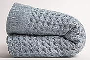 Nutrl Home by Ravel Waffle Weave Large Bath Sheet Towel - 100% Supima Cotton (Blue, 67 x 35 Inch) Premium Luxu
