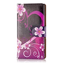 32nd® Design book wallet PU leather case cover for Sony Xperia M4 Aqua mobile phone - Love Heart