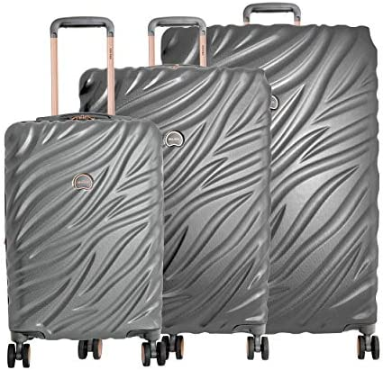 "Delsey Alexis Lightweight Luggage Set 3 Piece, Double Wheel Hardshell Suitcases, Expandable Spinner Suitcase with TSA Lock and Carry On (Platinum/Rose Gold, 3-piece Set (21""/25""/29""))"