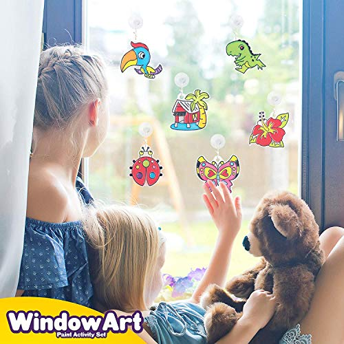 HighFun Window Paints Art Create Your Own Suncatcher Craft Kit DIY Jewelry Making Kit Arts and Craft for Girls Age 6-12 Children's DIY Windows Clings Includes 12 Pre-Printed Suncatchers