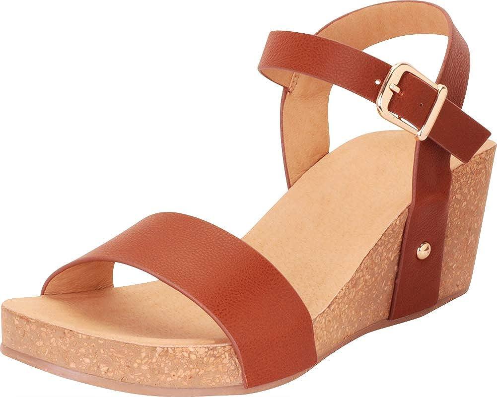 Cognac Pu Cambridge Select Women's Classic Comfort Chunky Platform Mid Wedge Sandal
