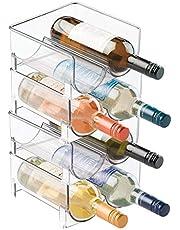 mDesign - Flessenrek - flessenhouder - ideaal als bergruimte voor drinken in de koelkast - stapelbaar