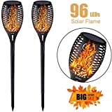 EOYIZW Solar Flame Light Outdoor Dancing Flickering Torch Lights Waterproof 96 LED Lantern Solar Spotlights Dusk to Dawn Lighting Lamp for Garden Pathways Yard Patio Path 2 Pack