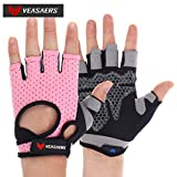 Adjustable Wrist Mountain Bike Gloves, Lightweight Microfiber Comfortable Half Finger Gloves with Finger Loops, Anti-Slip Shockproof Breathable Hand Protect Cycling Gloves for Men&Women