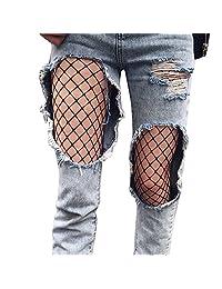 Mapletop Women Sexy Hosiery Black Fishnet Elastic Thigh High Stockings Tights