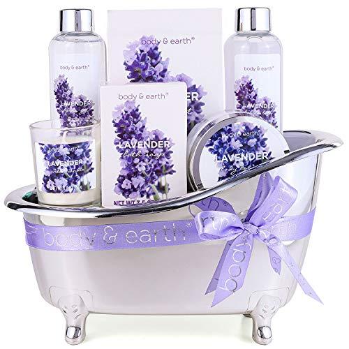 Body & Earth Gift Sets for Women, Lavender Spa Bath Set 6pcs- Scented Candle, Shower Gel, Bath Salt, Bubble Bath, Body Lotion, Womens Gift Sets for Her, Beauty Gifts Sets for Women, Gifts for Mum