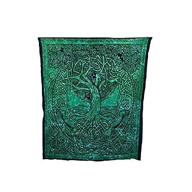 Courtney Davis Green Tree of Life Tapestry/bedspread 52  X 76  ~ Single