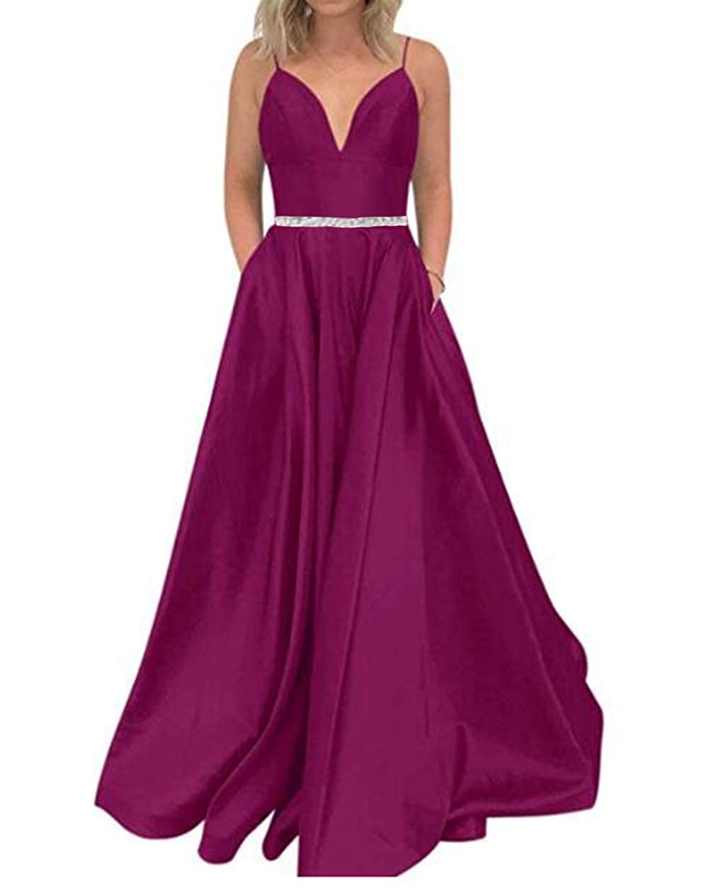 Fuchsia Tsbridal Women's A Line Bead Prom Dresses V Neck Satin with Pockets Evening Gown