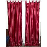 "Mogul Interior Indian Sari Curtains Maroon Tab Top Drape / Panel- Pair Window Treatment Ideas (Length: 84"")"