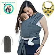 Baby Wrap Carrier For Boys and Girls By SSL Gender Neutral Baby Sling Carrier For Infants Suitable For Both Moms and Dads With Carry Pouch and Bandana Drool Bib