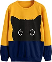 Meikosks Womens Cat Weater Pullover Crewneck Long Sleeve Blouse Cute Graphic Print Sweatshirts Top