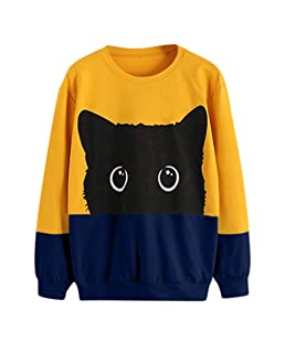 Meikosks Women's Long Sleeve Sweatshirts Cat Print Cute Pullover Round Neck Top