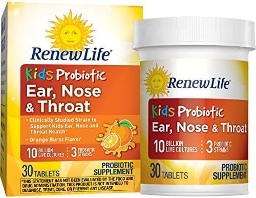 Renew Life Kids Probiotic - Ear, Nose & Throat, Shelf Stable Probiotic Supplement - 10 Billion – Orange Burst, 30 Chewable Tablets