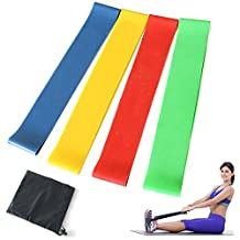 Set of 4 Resistance Loop Bands Pilates Exercise Physical Therapy Yoga Elastic bands Best For Yoga Stretching Outdoor Exercise