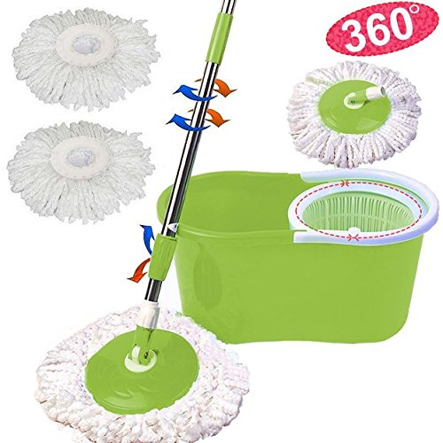 Verdant Microfiber Magic Spin Mop Rotating Bucket Floor 360° Head 2 Heads Easy Spinning with Bucket New Confound Dust Clean Home Kitchen Office