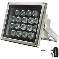 Univivi IR Illuminator 850nm 90 Degree Wide Angle IR Lights,18pcs IR Infrared Illuminator with DC12V 2A Power Adapter