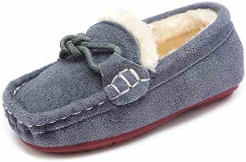 288ad3392f5 UBELLA Toddler Kids Boys Girls Suede Slip On Loafers Winter Warm Fleece  Lined Flat Boat Dress