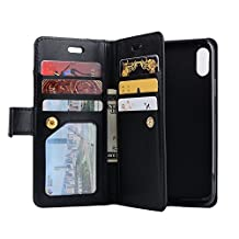 iPhone 7/8 PU Leather Case, Businda Card Slot and Zipper Wallet Hand Strap Protective Case Retro Vintage Stand Smart Wallet Credit Card Slots Wallet for iPhone 7/8