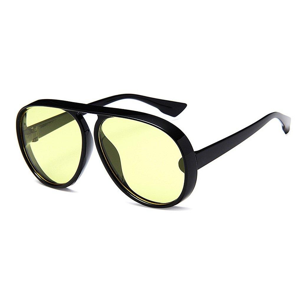 Yellow Women's Sunglasses Windproof Leisure for Frame Sunglasses Round Classic Unisex Sunglasses UV Predection Driving Sunglasses