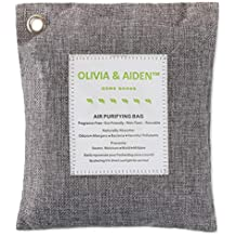 OLIVIA & AIDEN All Natural Air Freshener - Eco Friendly Odor Eliminator and Moisture Absorber - 500g Bag of Activated Bamboo Charcoal for Use As Car Deodorizer - Closet or Room Air Purifier