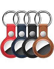 AirTag Case Portable Case for New AirTags Tracker, 4 Pack PU Leather Protective Case Cover with Keychain Compatible with AirTag Loop Holder, Safety Anti-Lost and Scratch-Resistant (Multicolor)