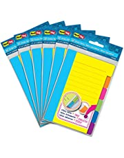 Redi-Tag Divider Sticky Notes, Tabbed Self-Stick Lined Note Pad, 60 Ruled Notes per note , 4 x 6 Inches, Assorted Neon Colors, 6 count/pack - pack of 6 (10291)