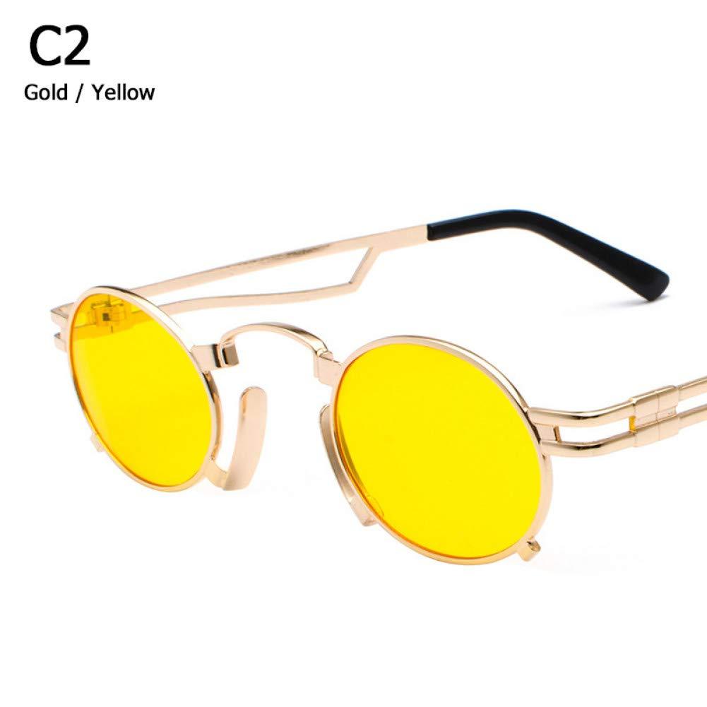 C2 QXDXAH Metal Oval Frame Vampire Sunglasses Unisex Retro 1980S Uv400 Sun Glasses