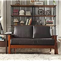 TRIBECCA HOME Hills Collection Bi-cast Leather and Brown Oak Wood Loveseat Mission Style Sofa Living Room Furniture