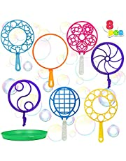JOYIN Bubble Wands Set, 8 Pcs Giant Bubble Wands Toy Set Large Bubble Wands with Tray Bulk for Kids Summer Outdoor Activity Party Favors, Suitable for All Age People