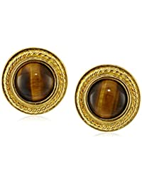Tiger Eye Gold-Plated Clip-On Earrings