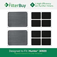 4 - Hunter 30920 30905 Air Purifier Replacement Filters. Designed by FilterBuy to fit Hunter Models 30050, 30055, 30065, 37065, 30075, 30080 & 30177.
