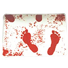 SODIAL(R) Blood Bloody Footprints Horror Movie Norman Bath Mat Door Carpet non-slip Rugs White