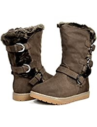 Girls Toddler/Little Kid/Big Kid Faux Fur Lined Mid Calf Winter Snow Boots