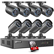 ANNKE 8-Channel 1080N Surveillance DVR with 1TB Hard Drive and (8) HD 720P Outdoor Fixed Bullet Cameras CCTV Security Camera System, IP66 Weatherproof, Email Alert with Images, Day/Night Vision