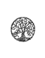 U7 Brooch Women Men Stainless Steel Tree Of Life Design Round Lapel Stick Pin For Hat,Bag,Suit