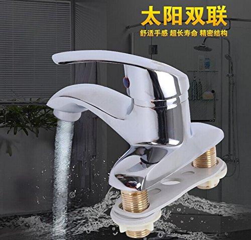 ETERNAL QUALITY Badezimmer Waschbecken Wasserhahn Messing Hahn Waschraum Mischer Mischbatterie Sun Dual-Kupfer Heiß und Kalt 2-Loch Waschtisch Armatur vollen Verkupferung