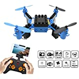 DIY Building Blocks Drone with Camera, FLYTEC T11S FPV Quadcopter Drone Headless Mode Auto Return with Replacement Battery RC Mini Drones Great for Beginners (Blue)