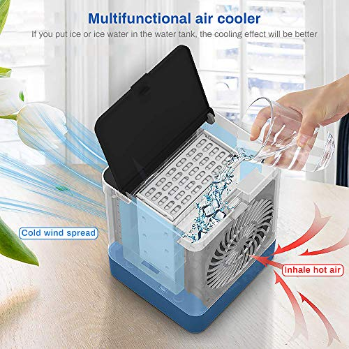 Directtyteam Personal Portable Mobile Air Conditioner,3 in 1 Mini Evaporative Cooler with USB Port 3 Fan Speed,Super Quiet Air Humidifier Misting Fan for Home, Office and Bedroom