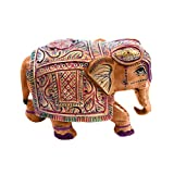 Little India Hand Carved Wooden Painted Elephant Handicraft