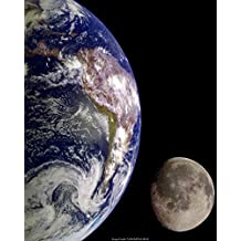 Set of 2 NASA Space Prints: Earth Moon Rise and Full Moon 16x20 inch Prints