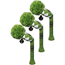 3 pcs Packed Golf Hybrid/Utilities Head Cover, Green Argyles Style, Interchangeable Number Tags,
