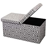 """Otto & Ben 30"""" Storage Ottoman with Smart Lift Top, Upholstered Folding Foot Rest Stools Table Ottomans Bench, Moroccan Gray"""