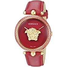 Versace Women's Palazzo Empire Swiss-Quartz Watch with Stainless Steel Strap, red, 19.3 (Model: VCO120017