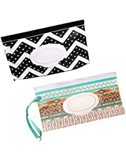 2 Pack Wet Wipes Pouch Reusable Refillable Wet Wipes Container Travel Wipes Case Wipes Bag Wipes Dispenser for Baby Adult 4/6 Pack