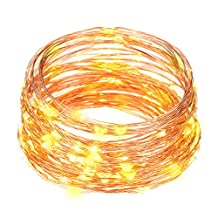 docooler 10M/33FT IP65 Waterproof Led String Light 100 LEDs Starry Copper Wire String Extra Thin Bendable Flexible Warm White Light Strip Christmas Holiday Festival Decorations US Plug