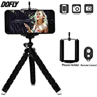 DOFLY Mini Cell Phone Camera Tripod, Octopus Camera Holder and Phone Tripod for iphone6/iPhone7 Plus/Universal Smartphone/Camera Arbitrary installed With Remote Control(Black)